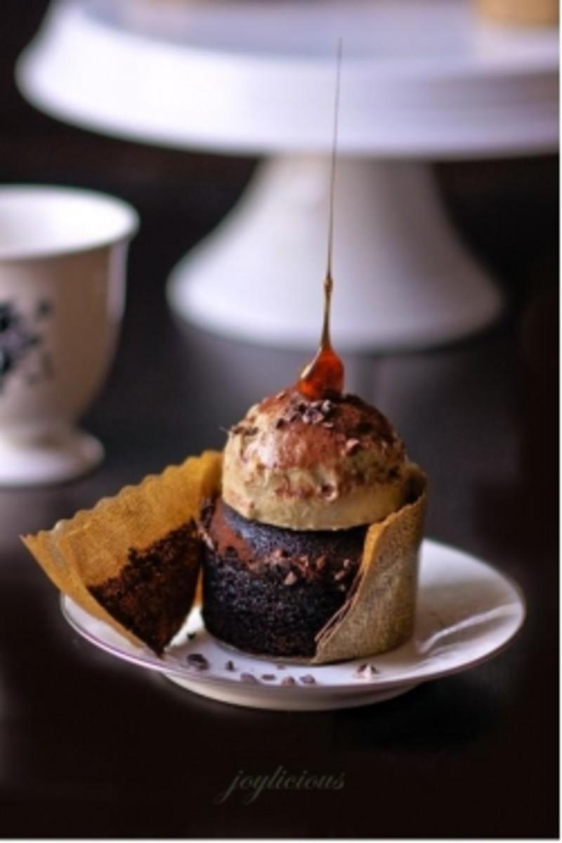 Chocolate cupcakes with banana ice-cream...mmm...