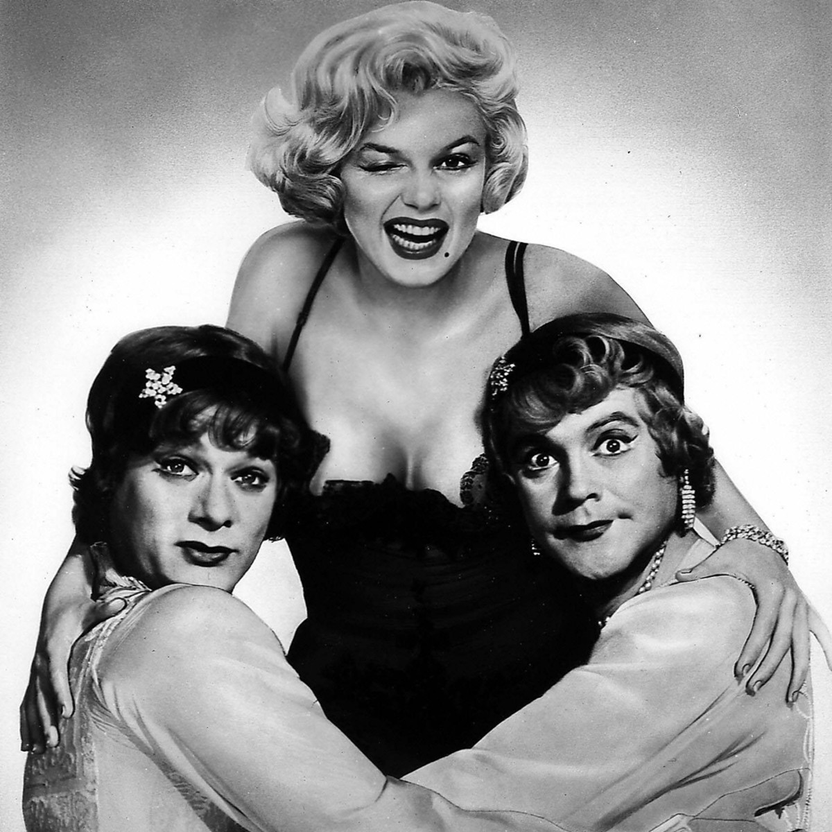 "Tony Curtis, Marilyn Munroe and Jack Lemmon in ""Some Like it Hot""."