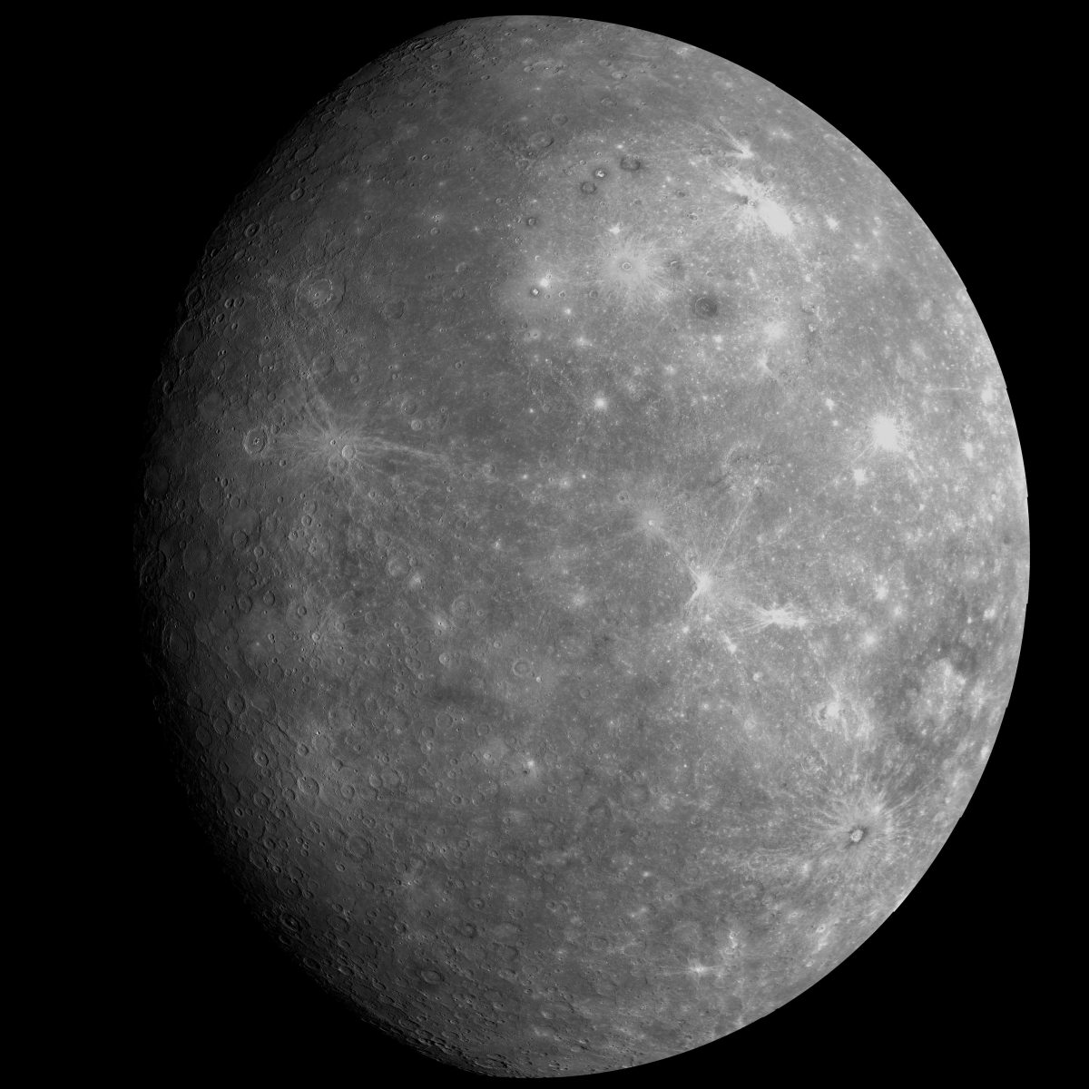 Mercury - Photographed on the 1st fly-by of the Messenger Probe in January 2008