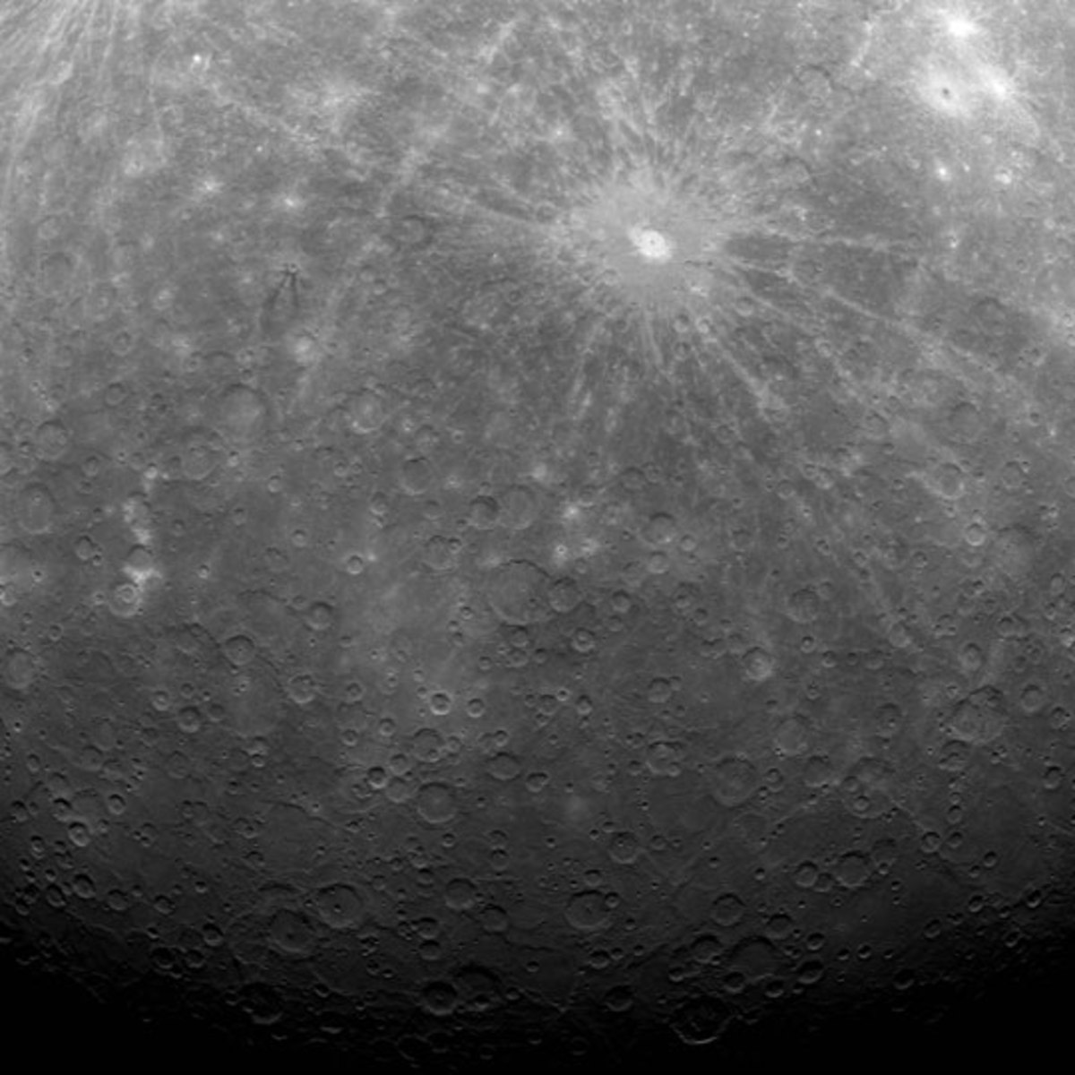 On 17th March 2011, Messenger became the first spacecraft ever to orbit the planet Mercury. This picture of the crater Debussy, was the very first image taken. This was on 29th March