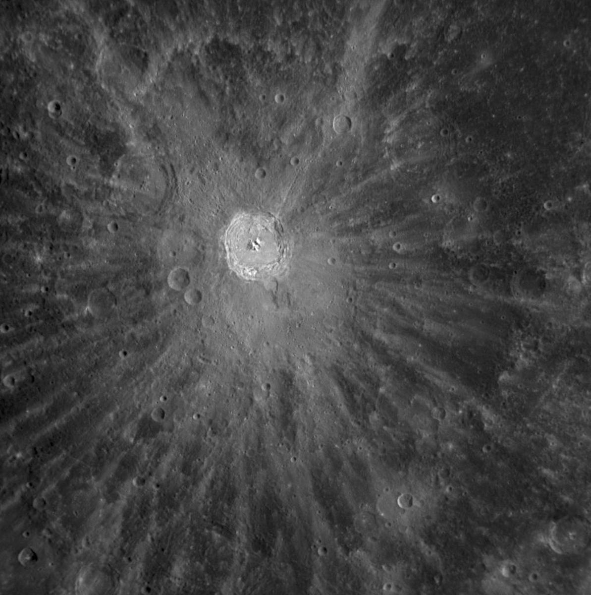 Rays of Ejected Material emanating from the Kuiper Crater on Mercury