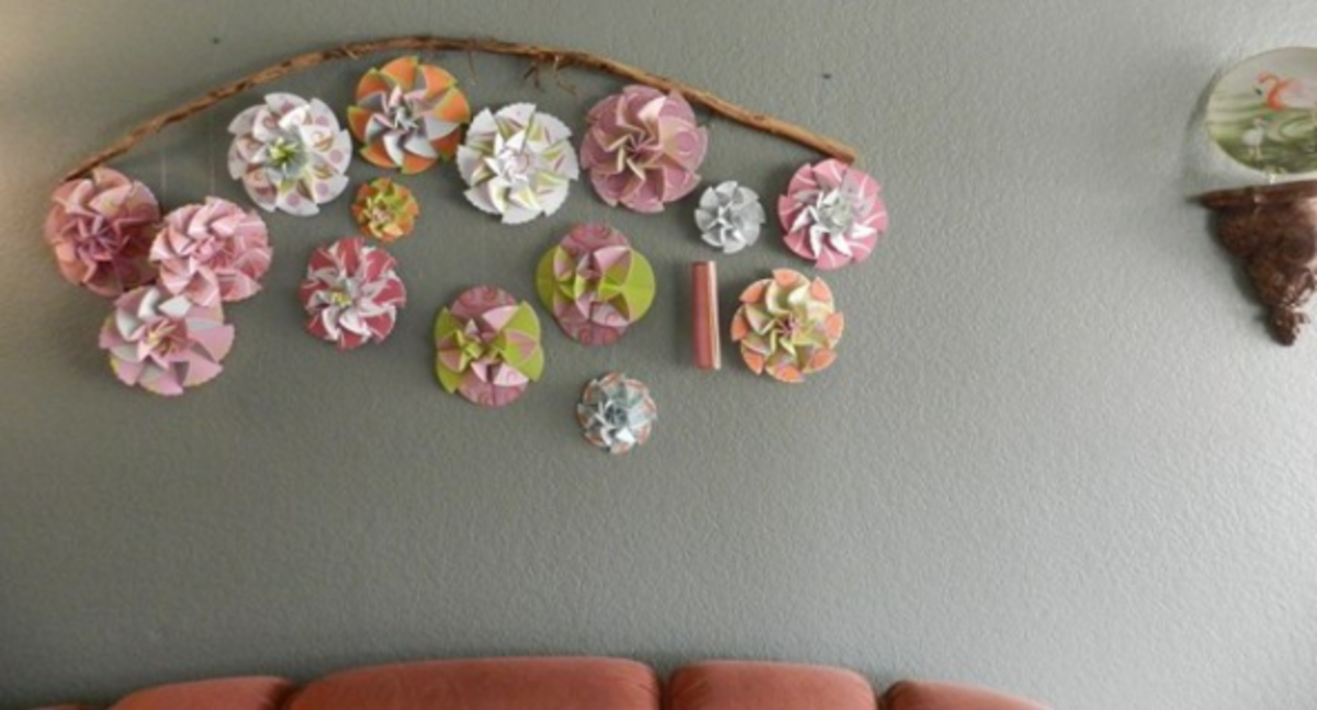 9 ideas for zig zag fold paper rosettes hubpages easy paper rosette headboard with rustic wood branch and fishline mightylinksfo Choice Image