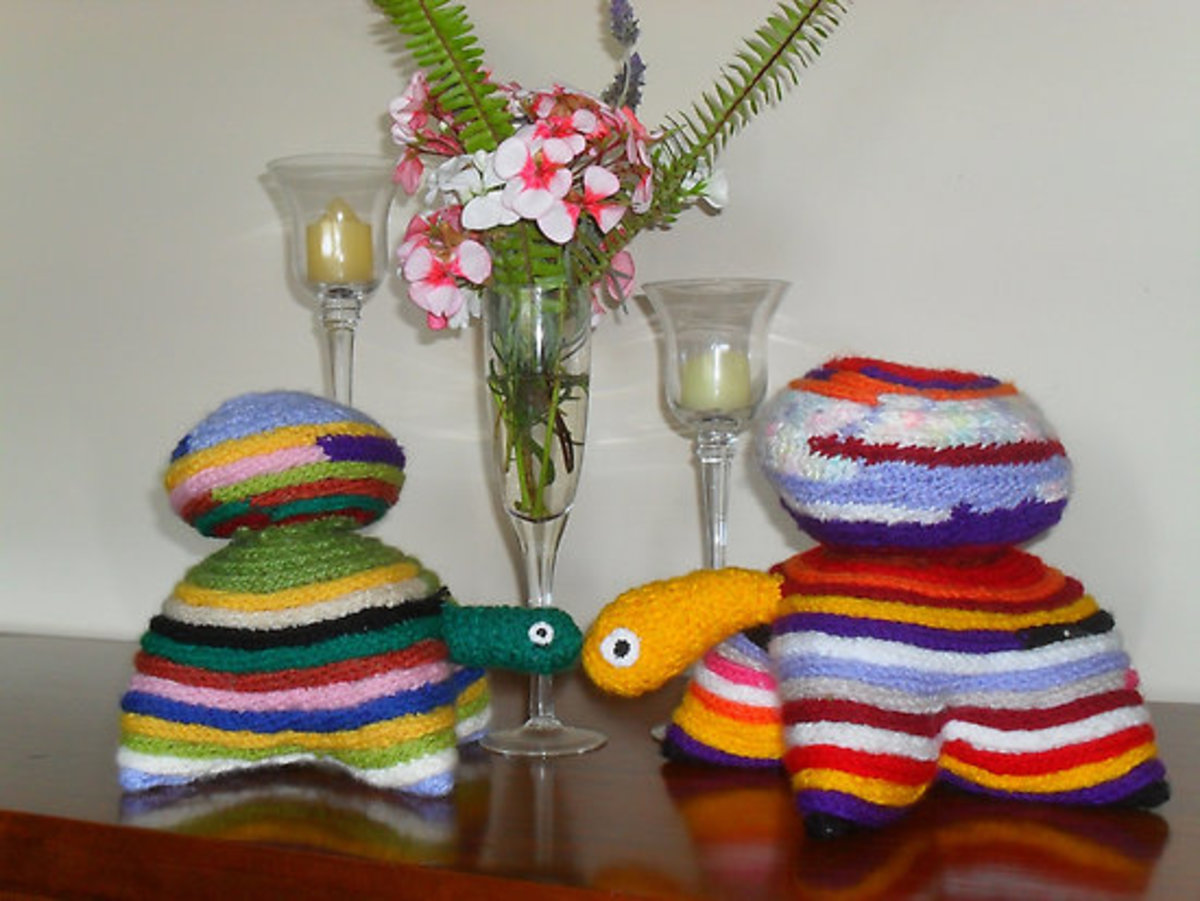 French knitted tutles by Peter Coombe
