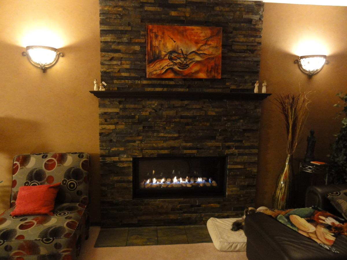 how to install a stone veneer fireplace surround hubpages. Black Bedroom Furniture Sets. Home Design Ideas