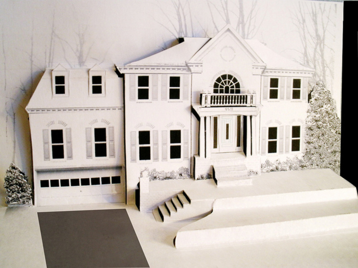Larry Gould has incorporated landscape with kirigami to recreate his neighbor's house.