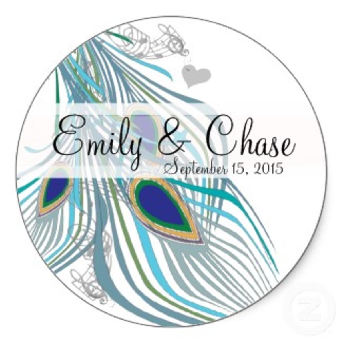 Peacock Wedding Sticker Favors