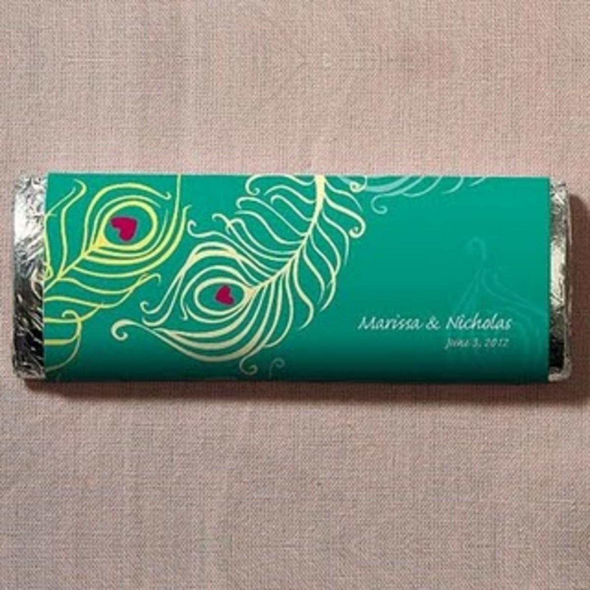 Edible Peacock Wedding Favors - Peacock Chocolate Bar