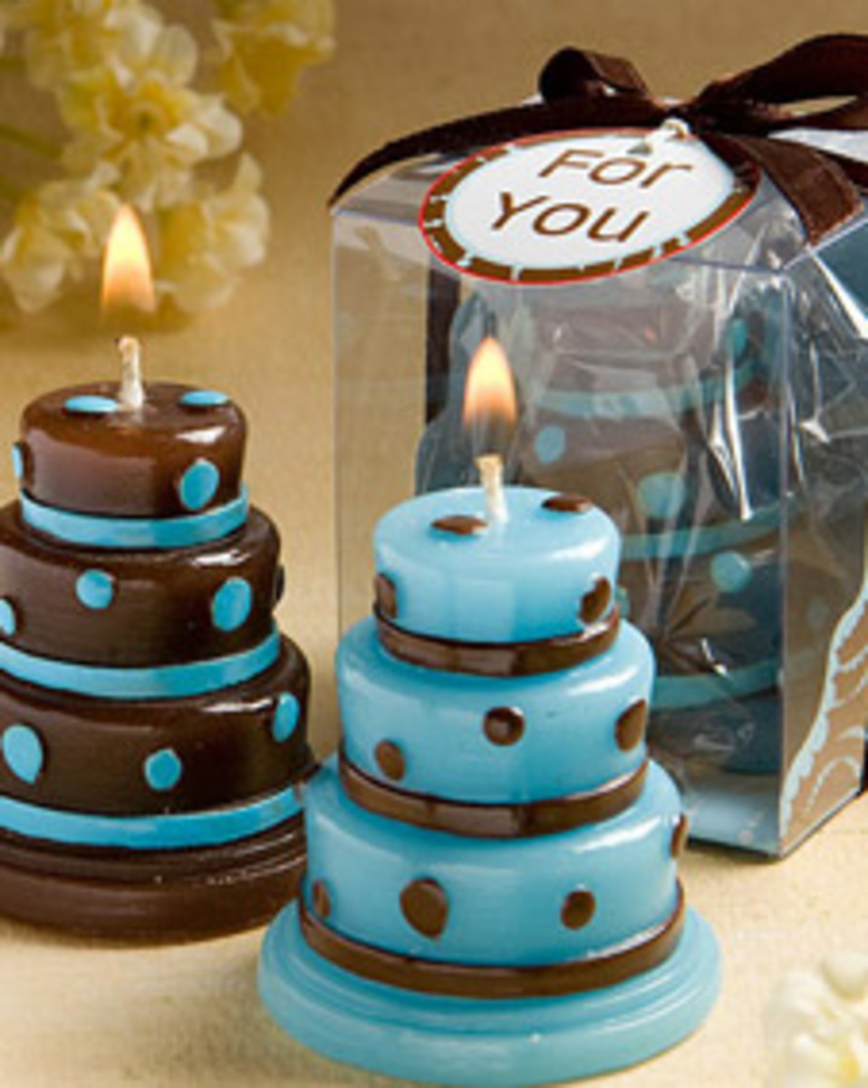 Blue and Brown Wedding Cake Candle Favors