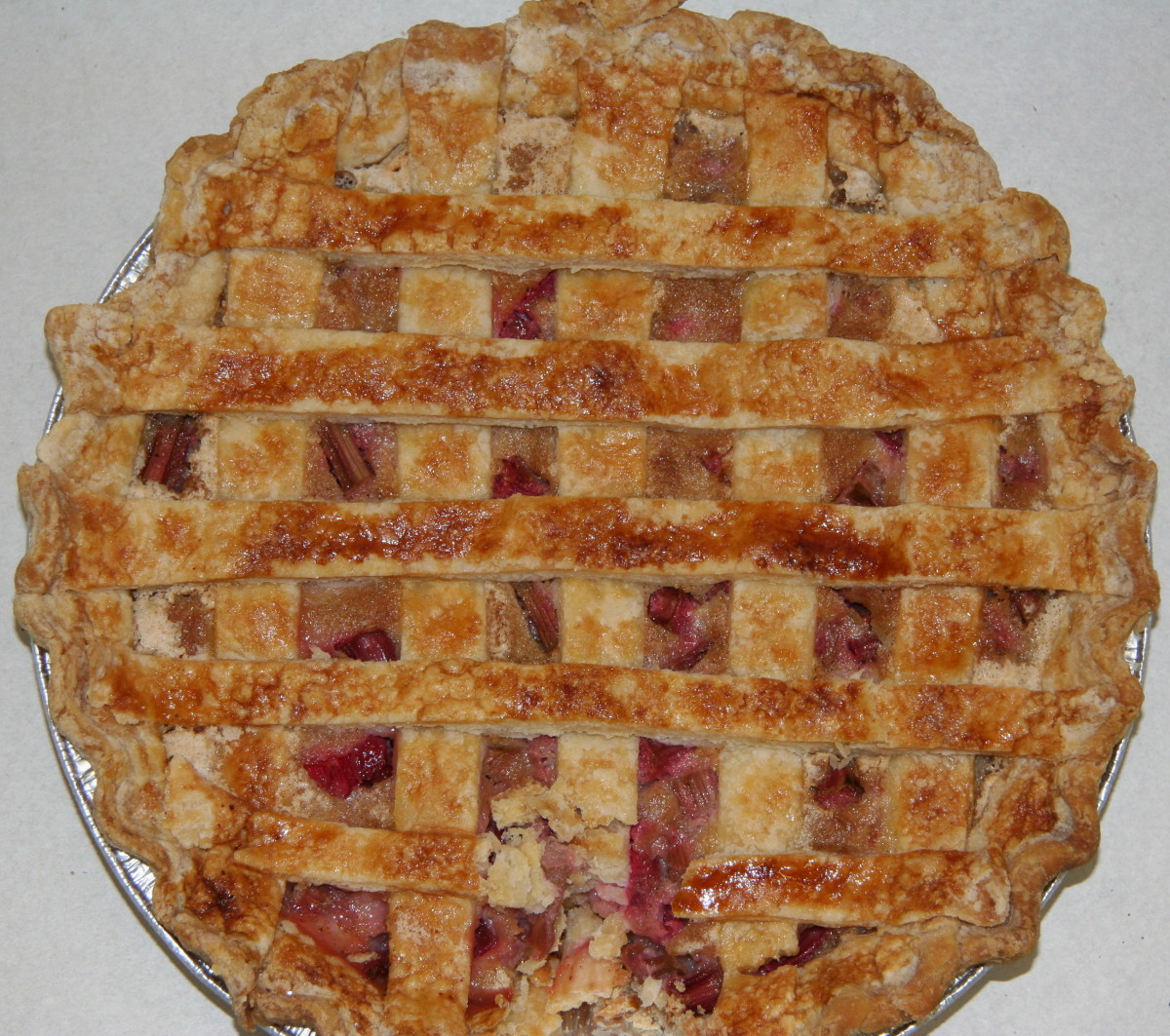A perfect lattice crust rhubarb pie is a sign of spring.