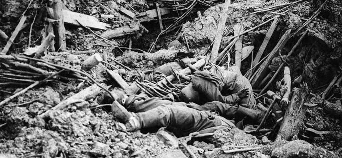 "'Battle of Messines - destroyed German trench' ~ 'OFFICIAL PHOTOGRAPHS TAKEN ON THE BRITISH WESTERN FRONT: Smashed up German trench on Messines Ridge with dead.' ~ Haig ""Official Photographs"" series' Created by the United Kingdom Government ~ public"