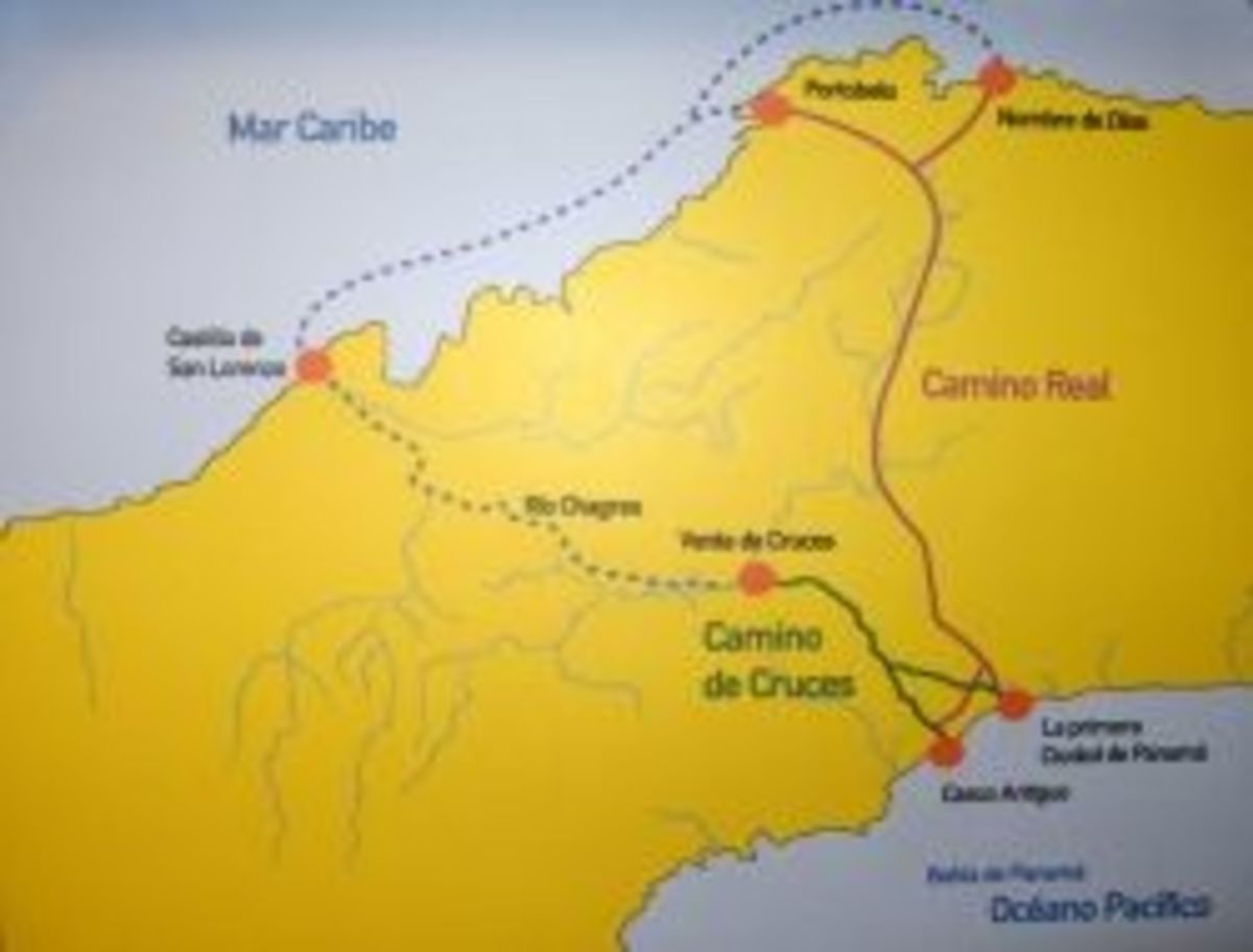 Map of the Camino Real & Camino de Cruces Routes