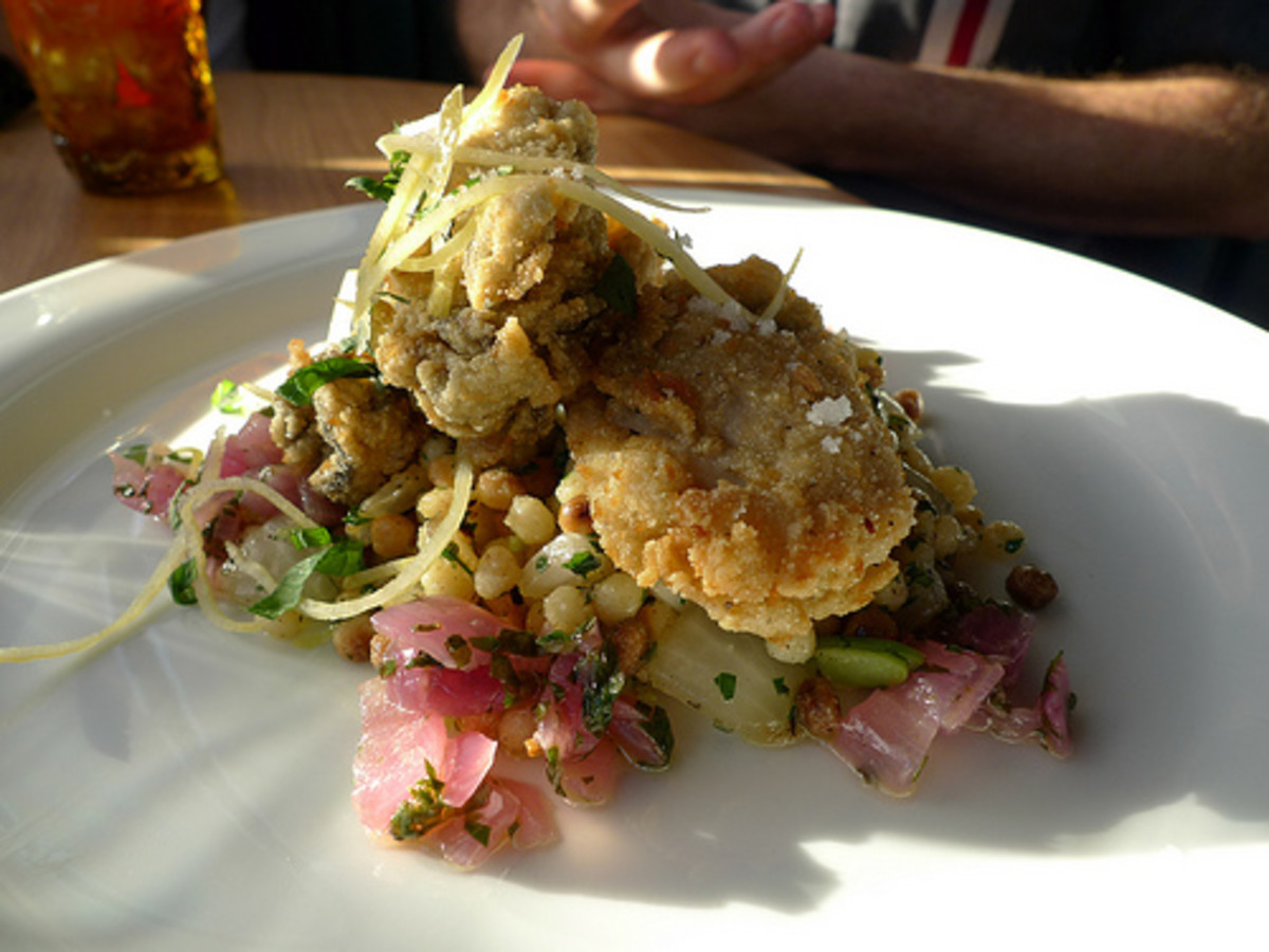 Fried Oysters served on top of a nice salad.