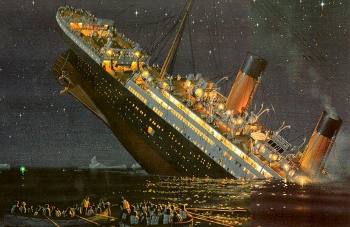 Artist's impression of the Titanic sinking.