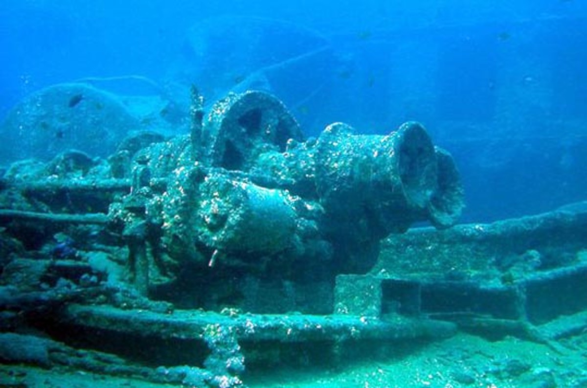Deteriorated equipment under the sea.