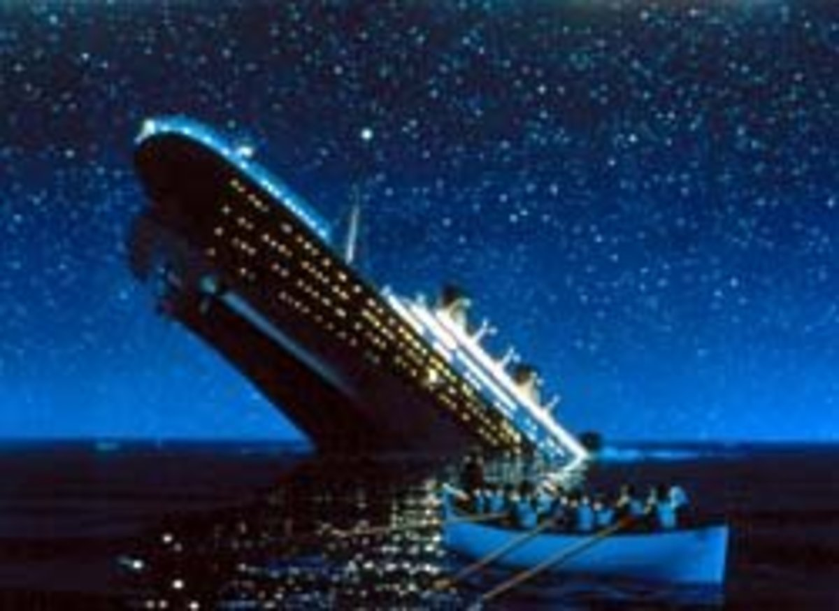 The Titanic as it sunk.