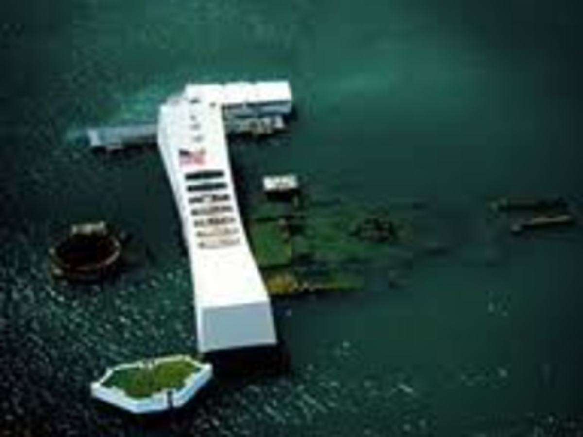 The dislay of the USS Arizona wreck.
