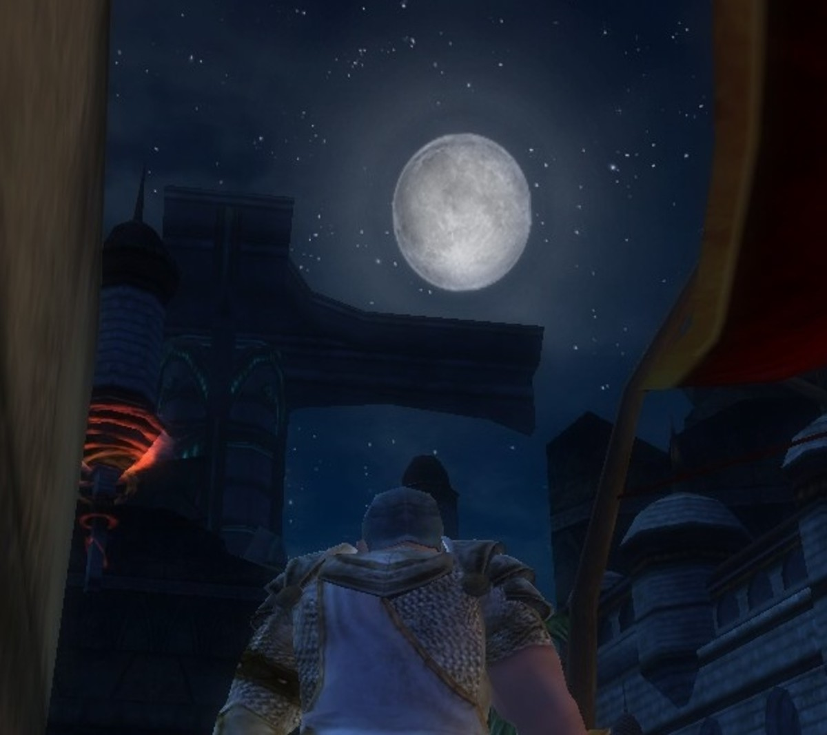 A bright moon hangs above the narrow corridors of Stormreach's market district.
