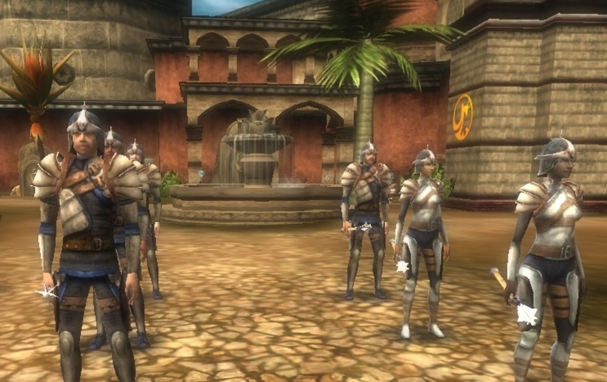 There is trouble brewing for Stormreach.  In preparation, House Deneith trains new recruits in the Marketplace.