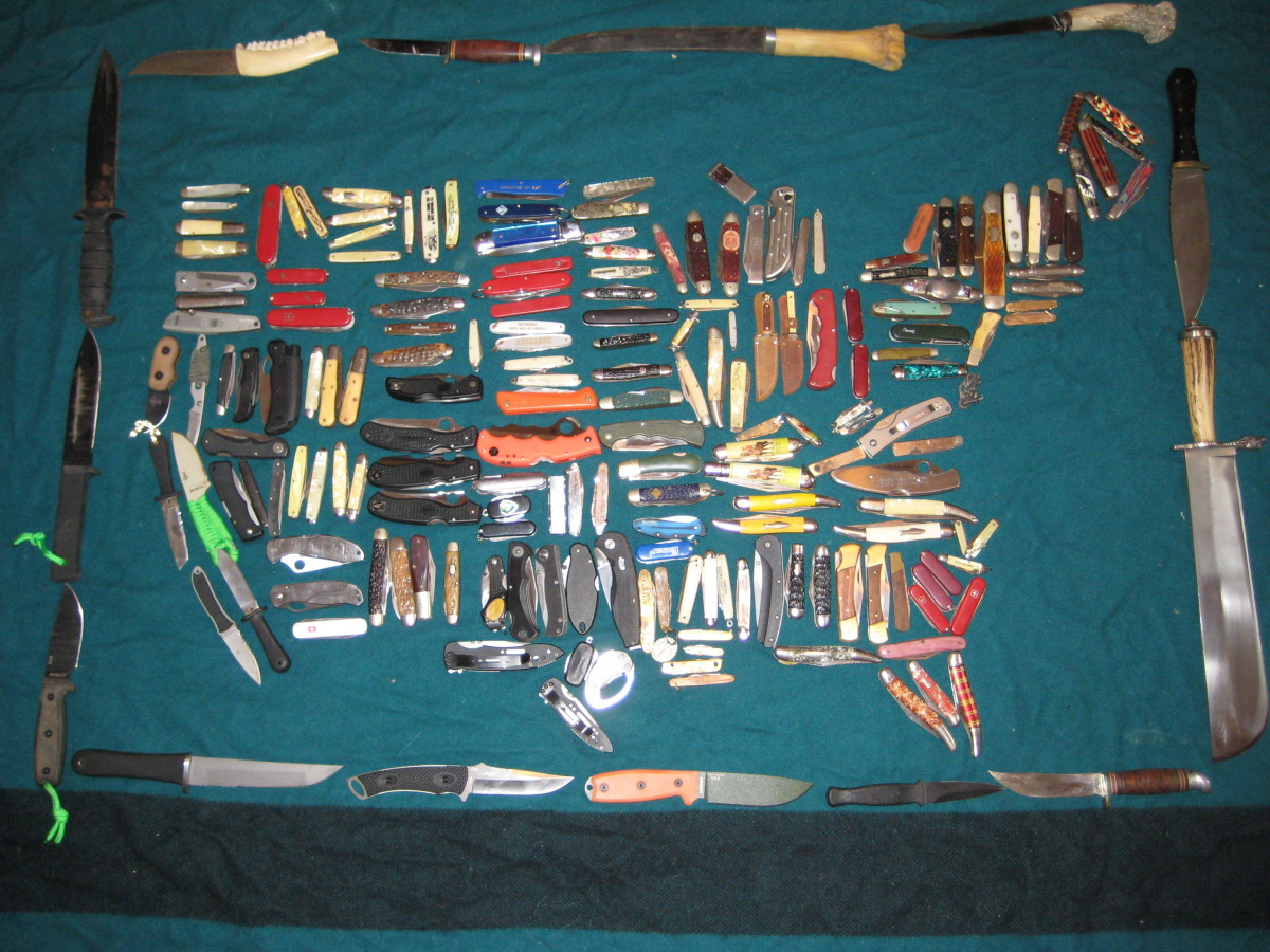 A map of the United States I made with two-hundred knives from my collection.