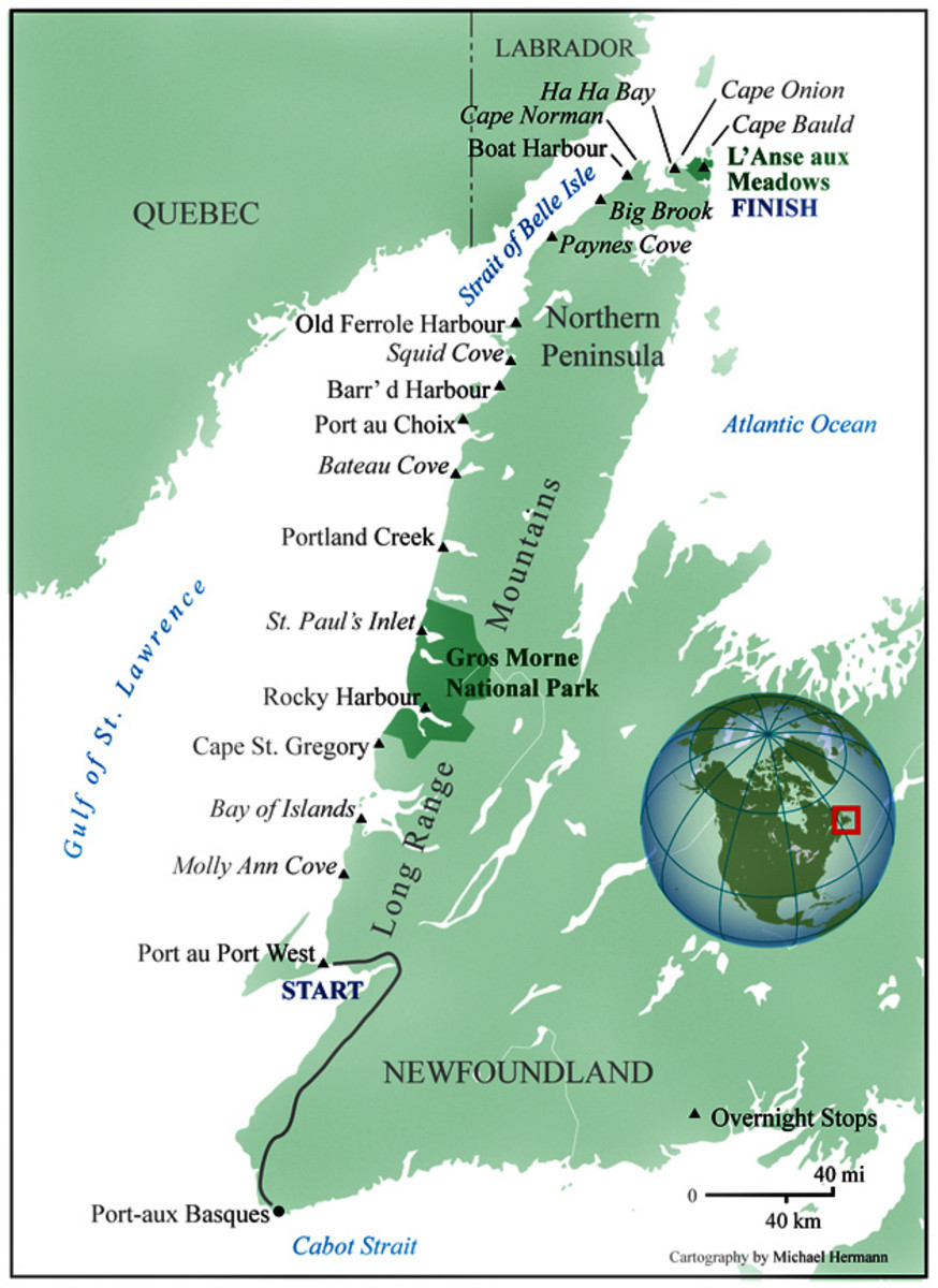 Western Coast of Newfoundland - showing L'Anse Aux Meadows