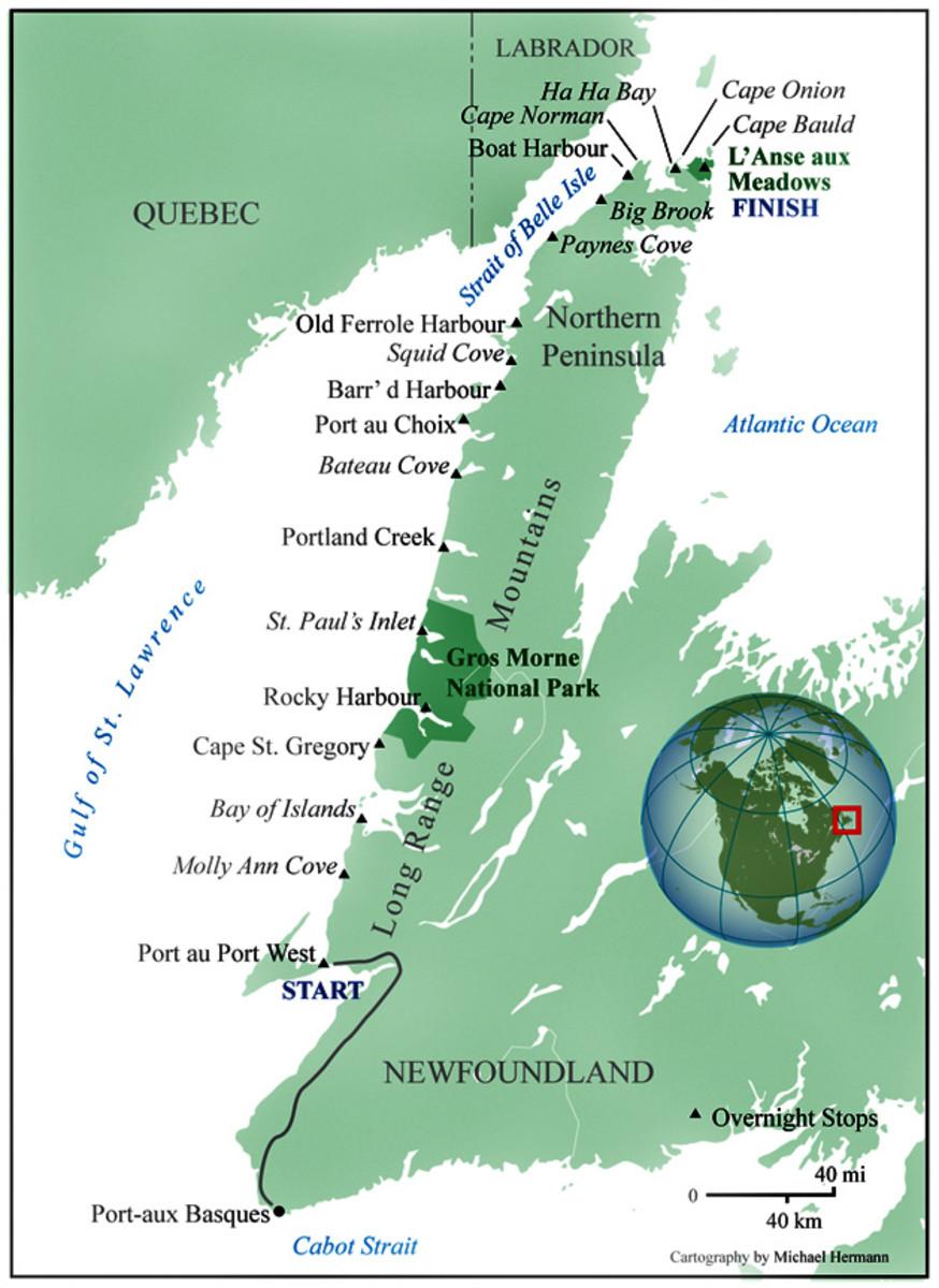 Western Coast of Newfoundland - showing L'Anse Aux Meadows