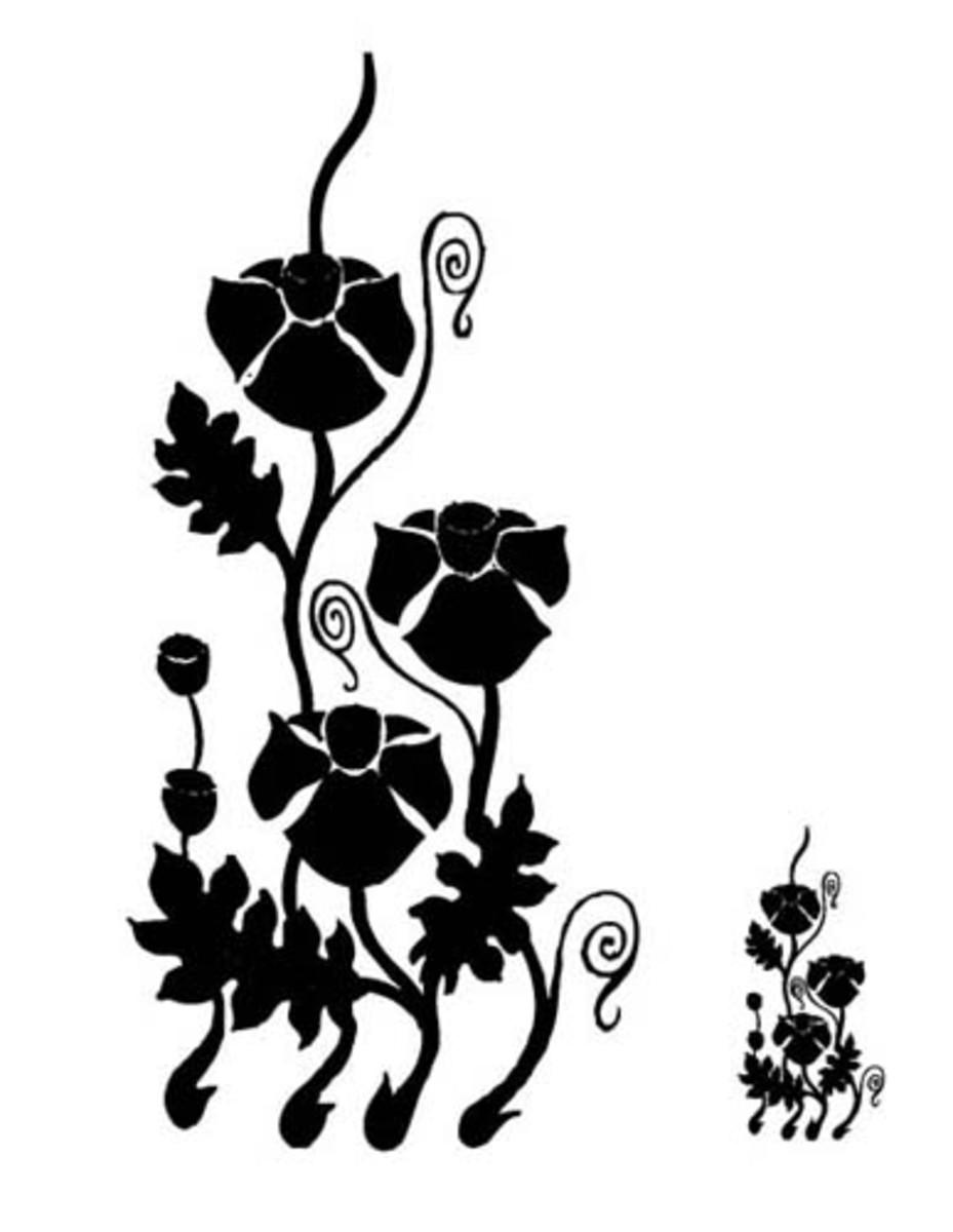 Poppy stencil to print. Source:  Fashion Frog