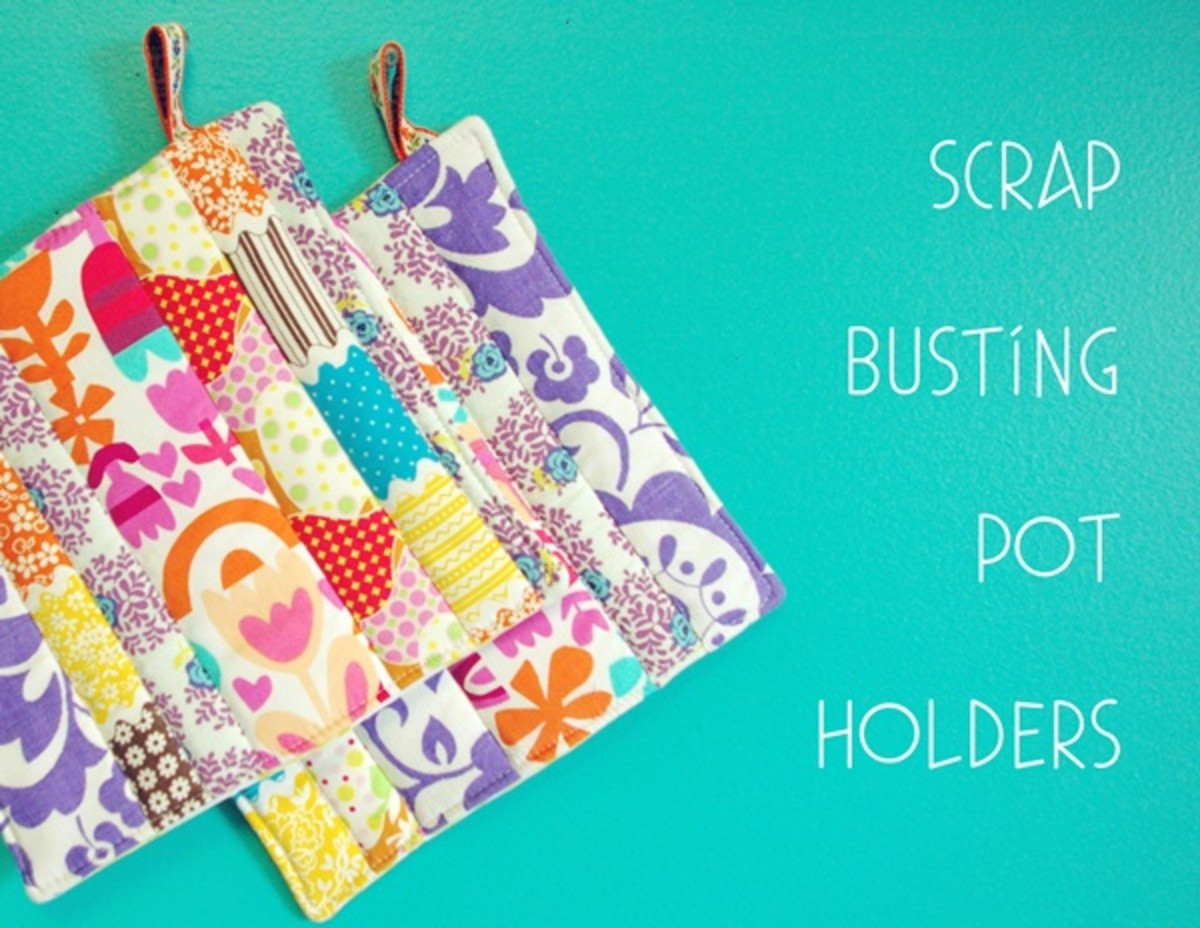 Scrap Fabric Pot holders Easy to Make