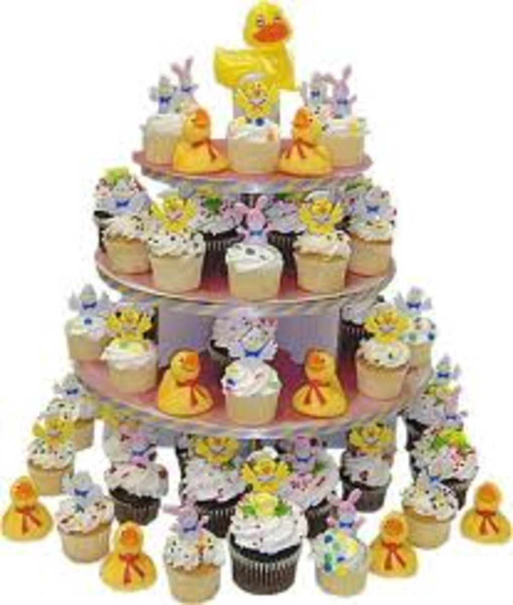 This cupcake monument will catch many eyes at your baby shower.