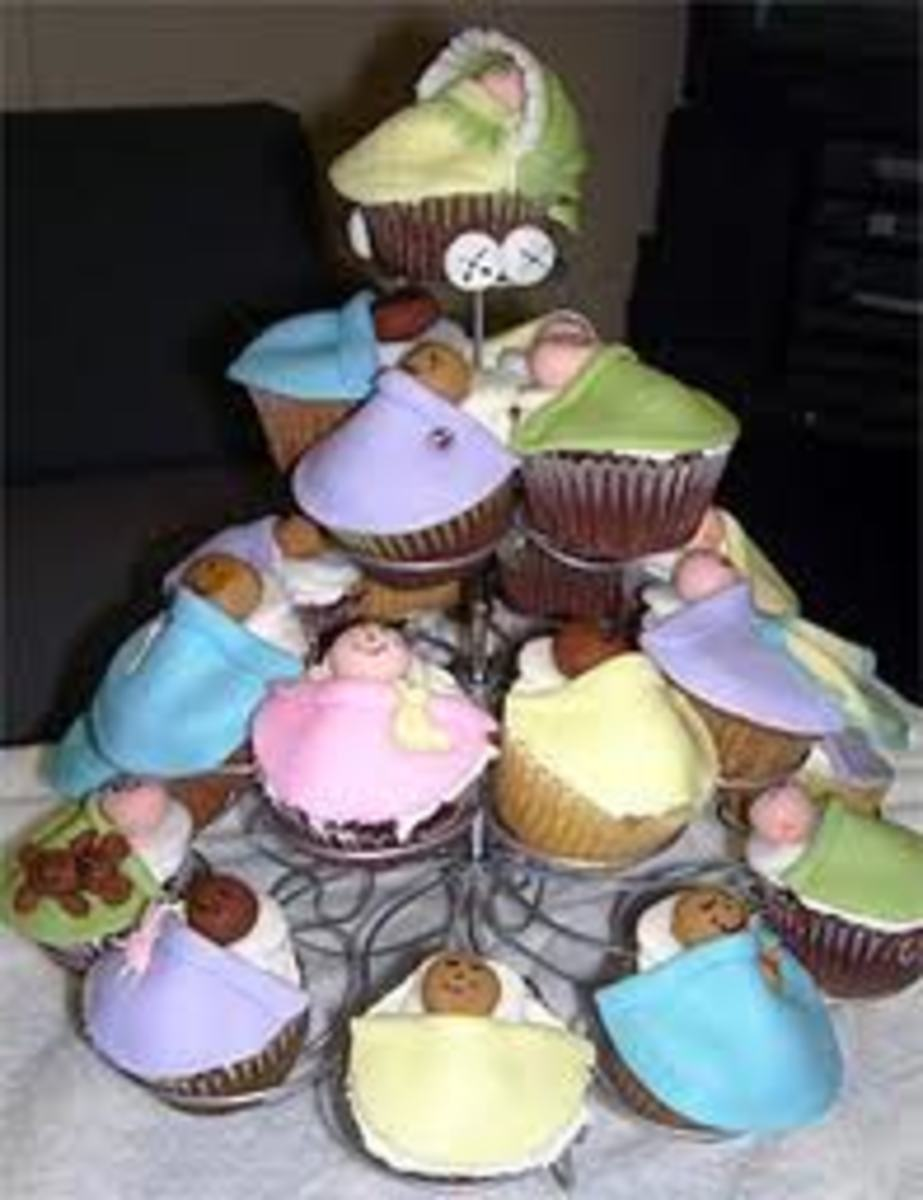 Decorative cupcakes are very popular at baby showers.