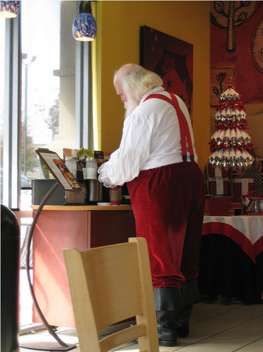 Santa at Starbucks