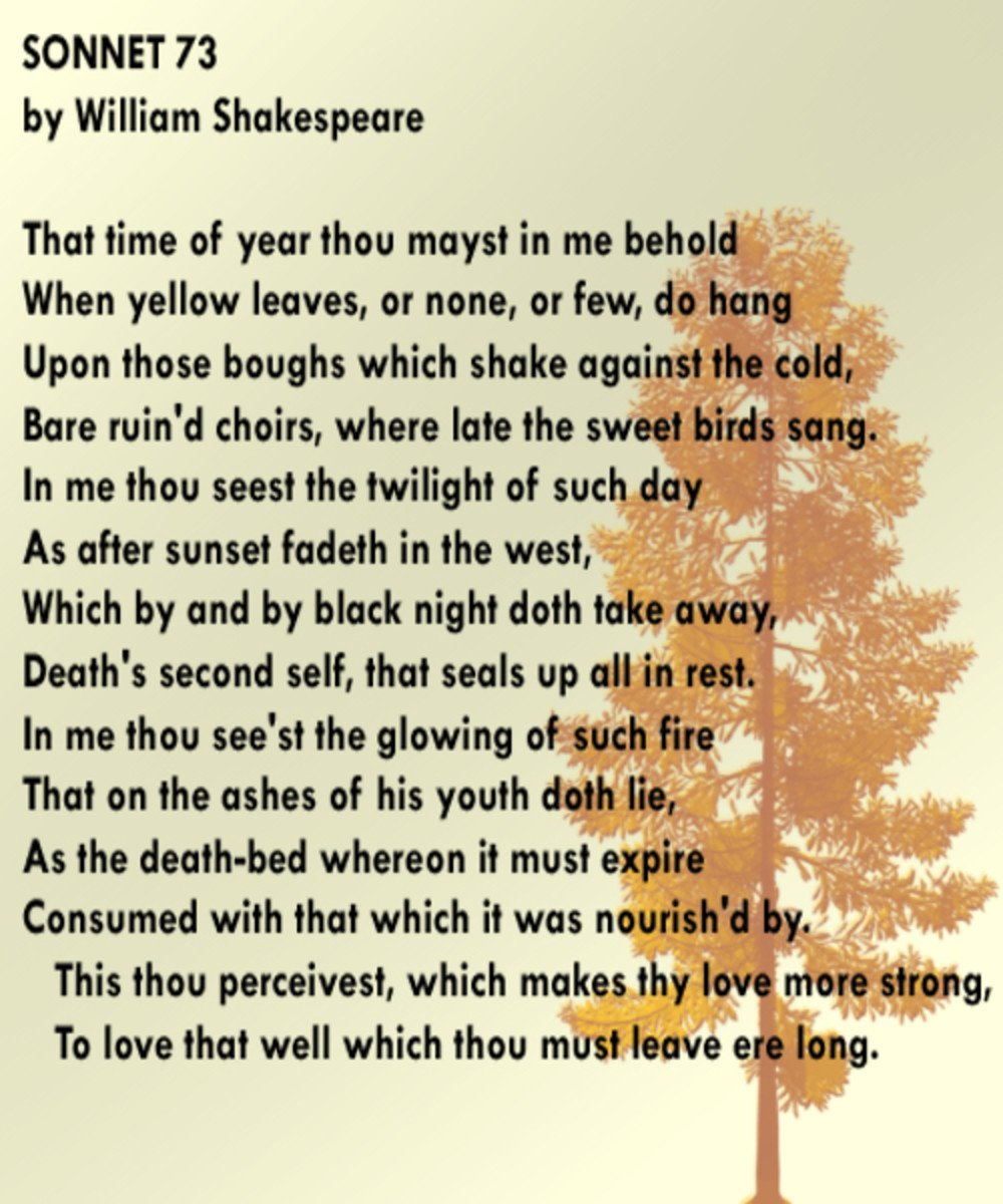 a literary analysis of sonnet 73 by william shakespeare November poetry slam month - day 2 - sonnet 73 - william shakespeare i love autumn and i love shakespeare what could possibly go wrong with a combination of.