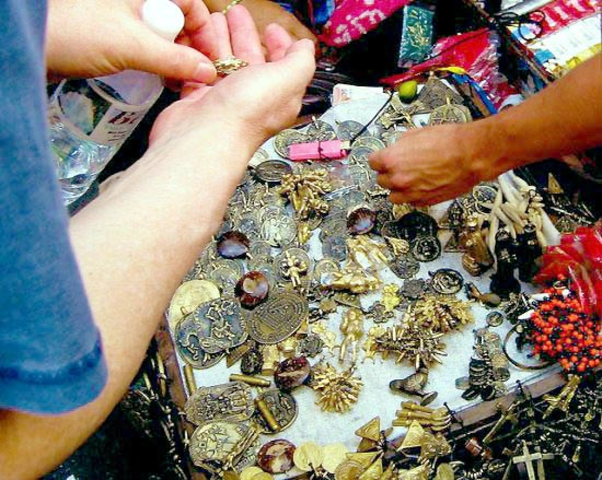 Street vendor selling Anting-anting (amulets and charm)