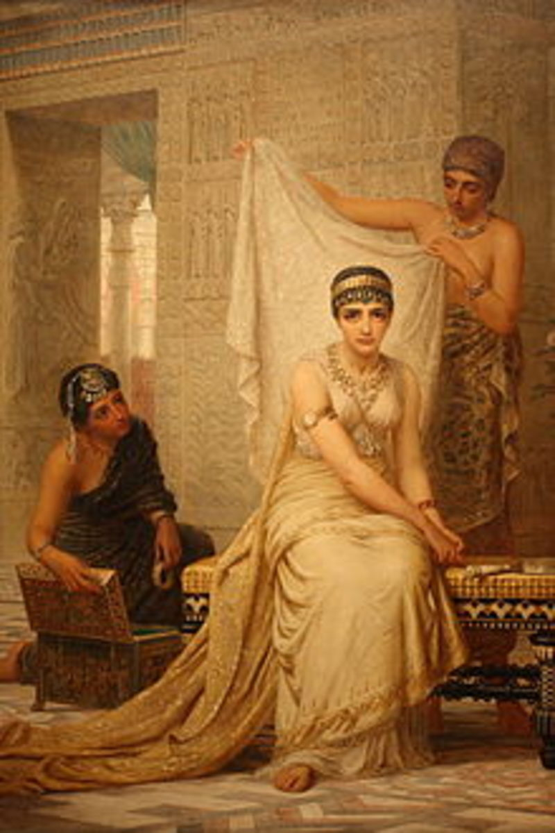 """Painting in public domain. """"Queen Esther,"""" by Edwin Long."""