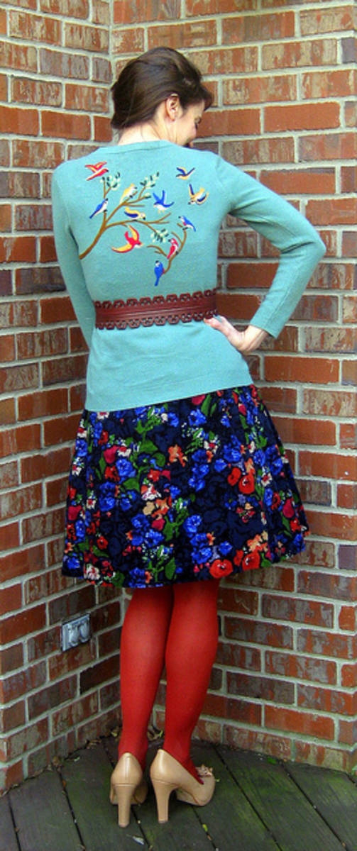 I think the bird pattern felted onto the back of this cardigan is amazing - and it makes the sweater look so expensive too!