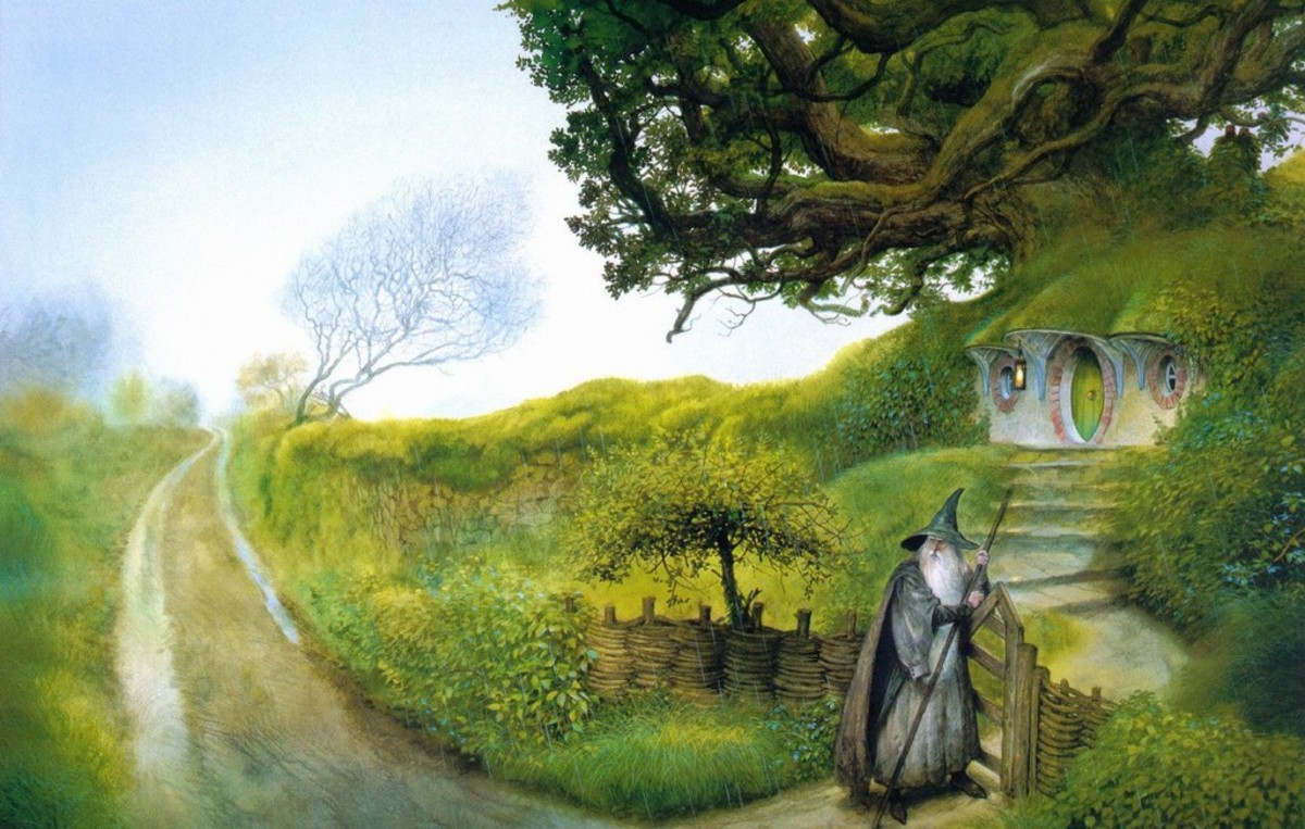 Gandalf comes to Hobbiton - art by John Howe