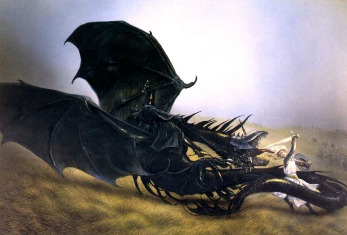 Eowyn and the Nazgul - art by John Howe