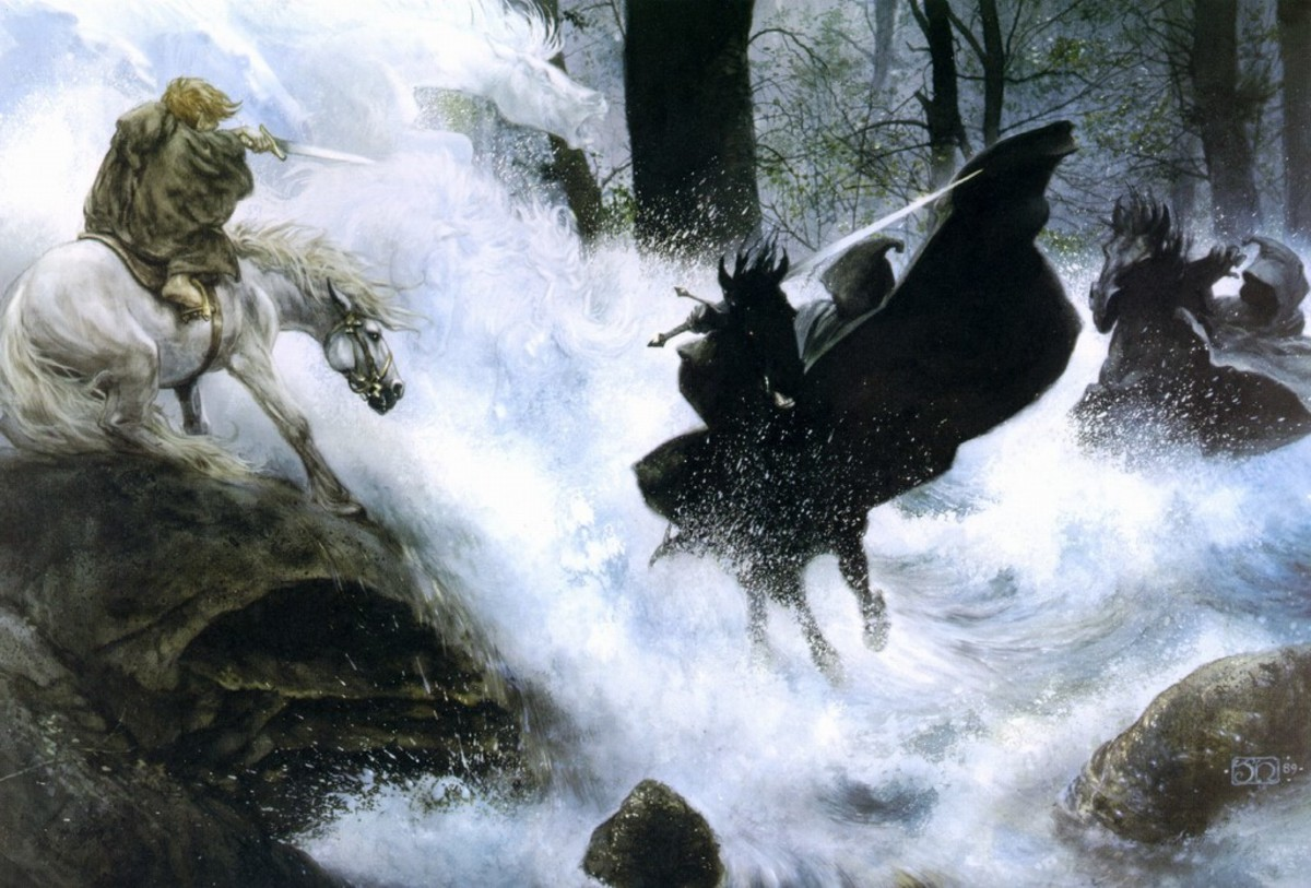 Frodo defies the Nazgul at the Ford of Bruinen - art by John Howe