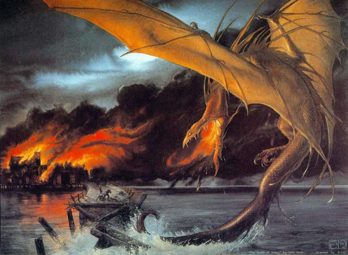 Smaug over Esgaroth - art by John Howe