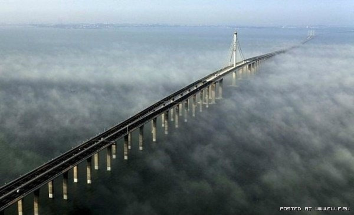 In the Chinese province of Shandong is a bridge across the Gulf of Jiaozhou. The bridge length over 36 km is calculated for eight car lanes, and is the longest sea bridge in the world.