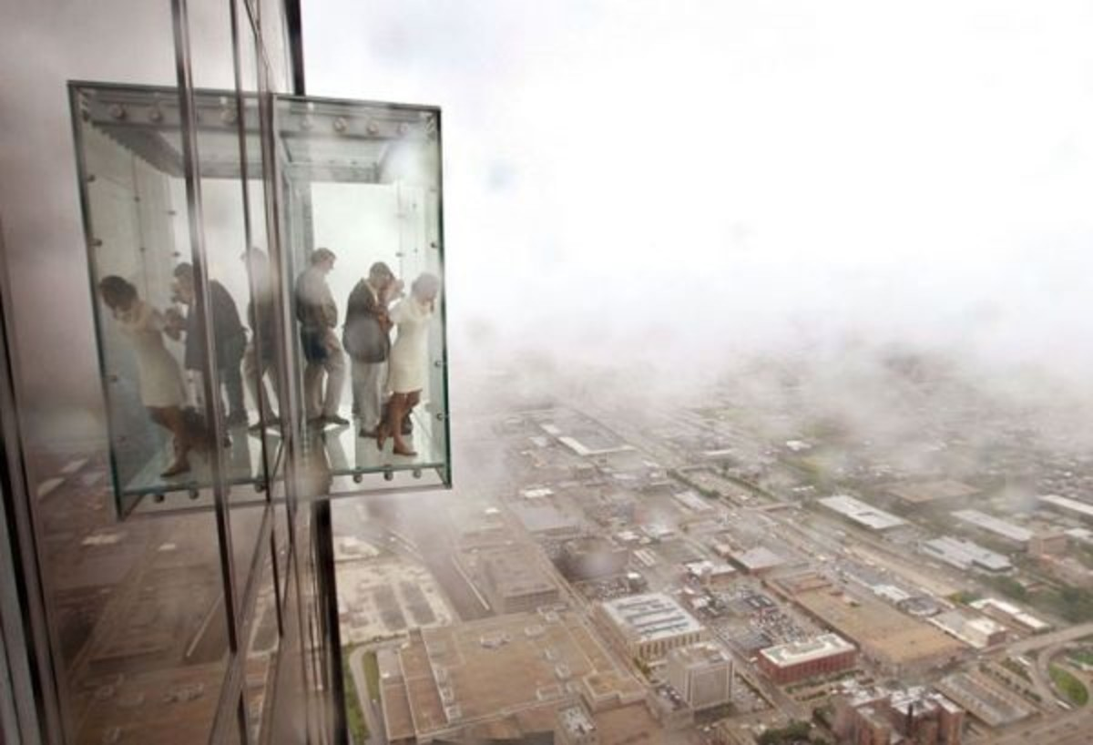 Balcony of floor 103 in Chicago. From the outside it looks like...