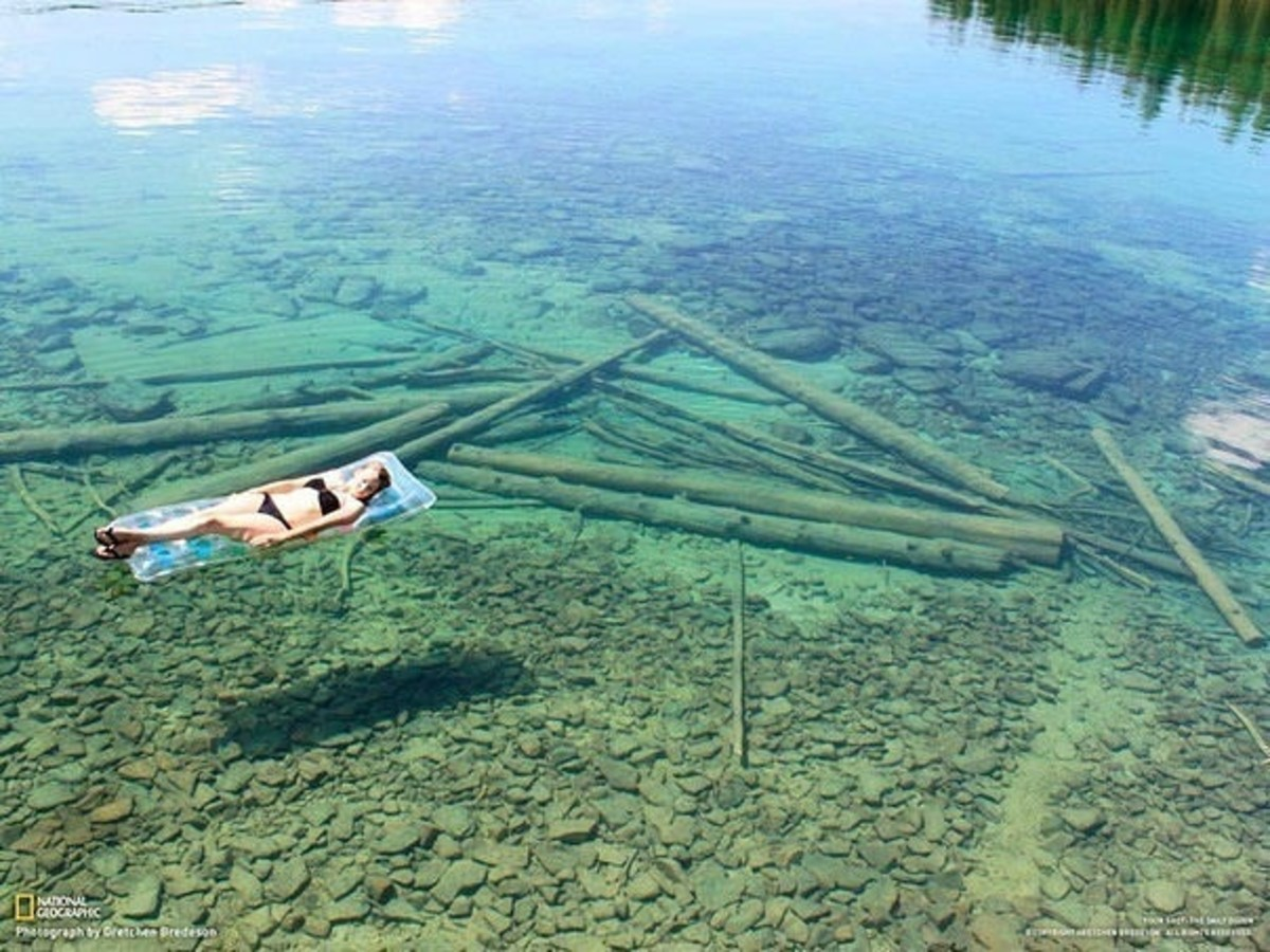 In northwestern Montana, USA. The water is so transparent that it seems that this is a quite shallow lake. In fact, it's very deep.