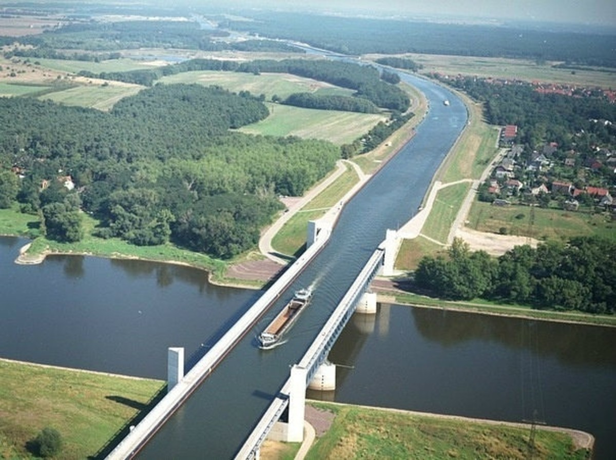The river above the river: Magdeburg Water Bridge, Germany.