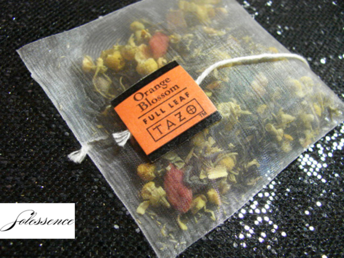 An example of one of the full leaf tea bags - Orange Blossom.