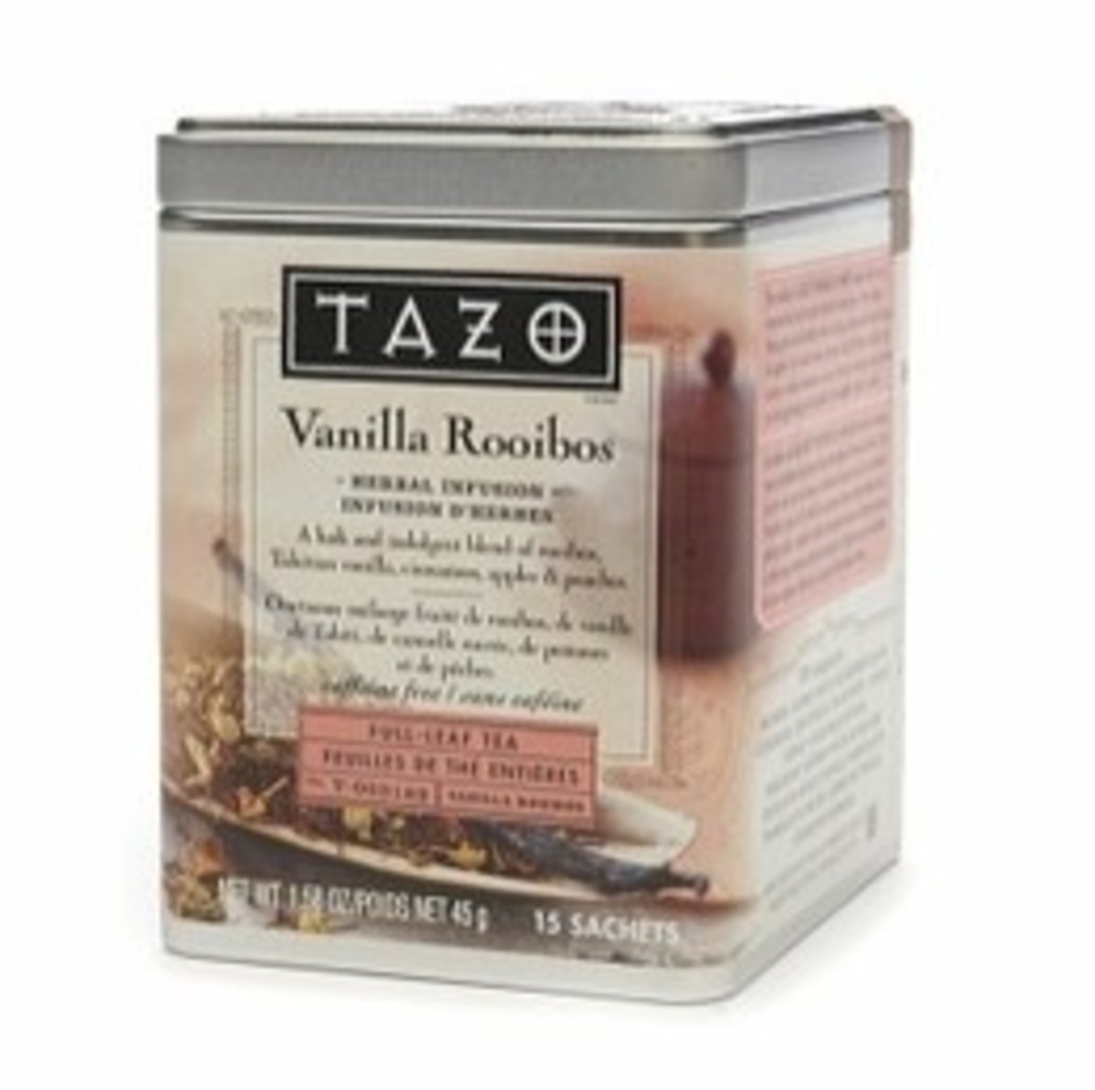 A tin of Tazo Vanilla Rooibos.
