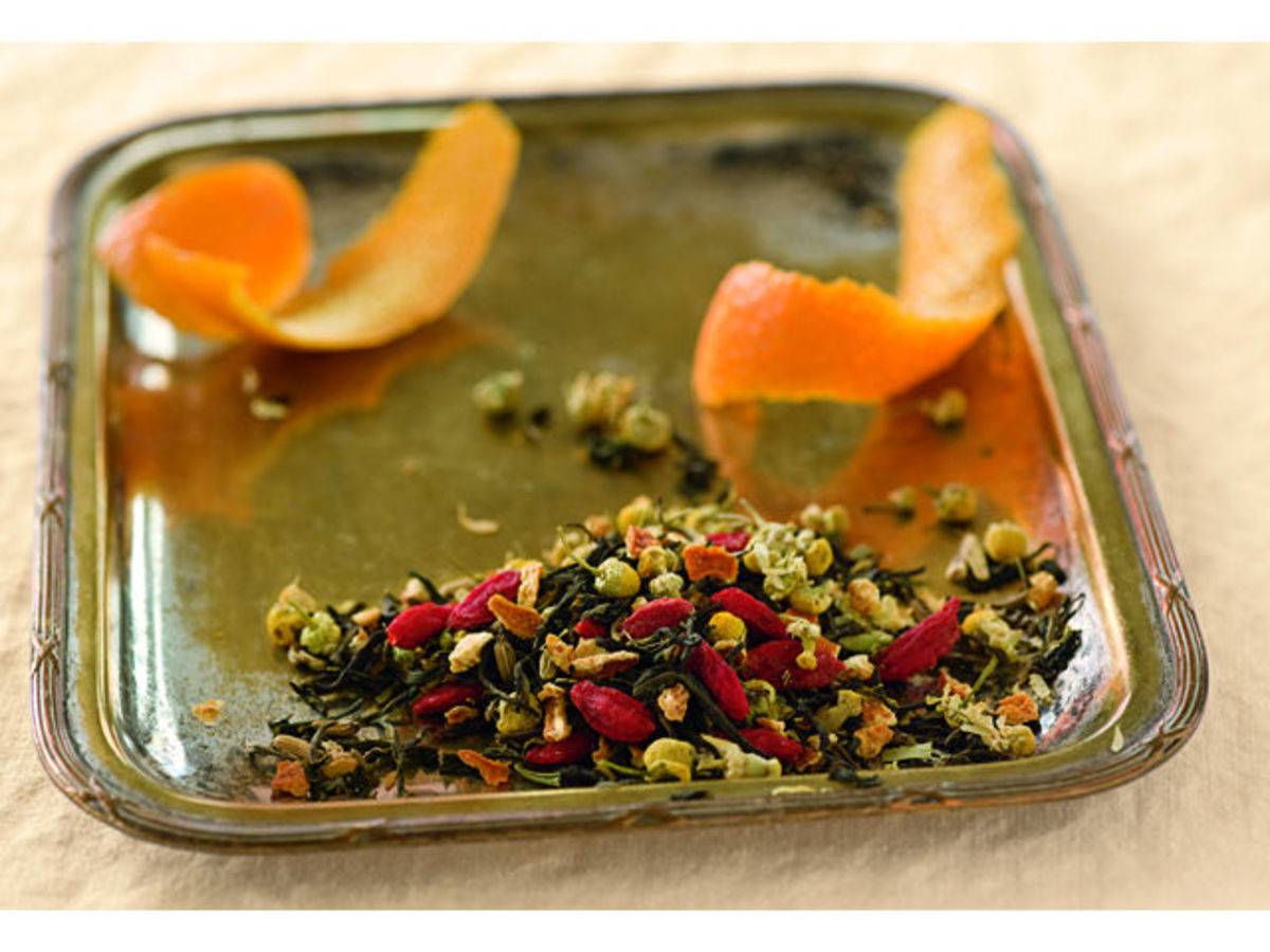 This is an example of the contents of a full leaf tea bag - Orange Blossom.