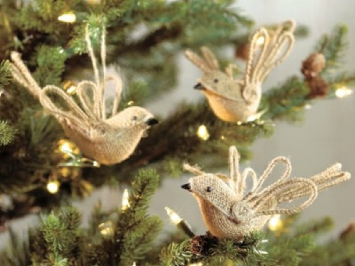 burlap and twine bird ornaments