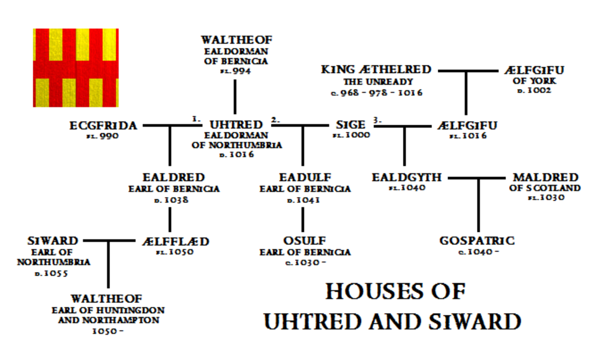 The family tree of Uhtred of Bamburgh and Earl Siward - Gospatric became Earl of Northumbria in AD 1068 under William I before Waltheof briefly held the earldom until implicated in a plot to remove William