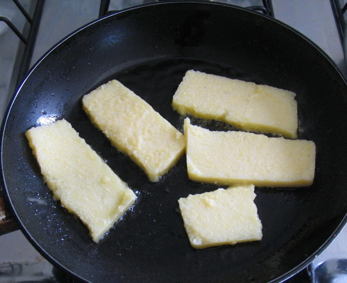 Fry sliced mush