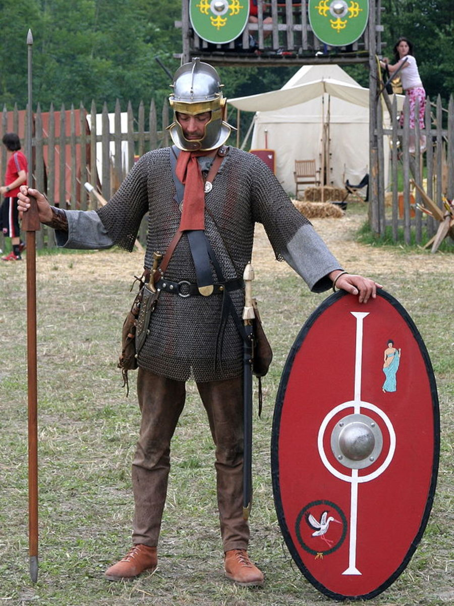 Historical re-enactment showing a Roman soldier, wearing Chain Mail.