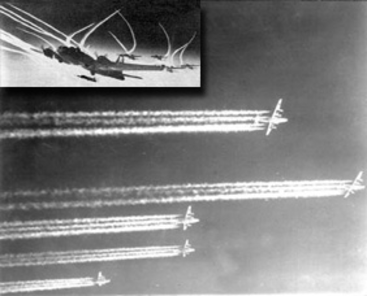 Contrails from propeller-driven aircraft engine exhaust, early 1940s